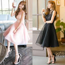 ドレス チュールレース 黒 ピンク ノースリーブ ひざ丈 ワンピース ミドル メッシュ FS001501