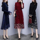 ミディアムドレス 韓国ワンピース 花柄 ニット切り替え お呼ばれ FS084201