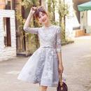 花柄刺繍 Aライン フレアワンピース 七分袖 ミディアムドレス FS023801