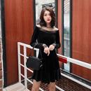 韓国ドレス 韓国ワンピース デコルテレース エレガント 上品 ブラック FS104401