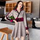 韓国ドレス 韓国ワンピース カシュクールデザイン セクシー チェック柄 紫色 ウエストマーク FS105101