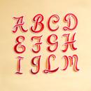 アルファベットワッペン(筆記体M)/レッド