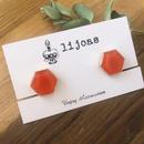 ブラッドオレンジのヘキサゴンイヤリング