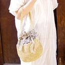 ラフィアとニットの編み上げ巾着bag