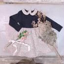 【crochette】ニット×フラワープリント ワンピース ネイビー