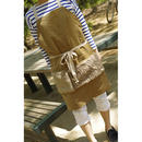 POCKET APRON-COTTON CORDUROY+FAUX FUR MIX (BEIGE)