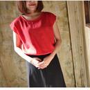 【2018ハンドメイド受注生産15日以内発送】ふわっふわなダブルガーゼのバックタックプルオーバーTシャツ(大人のWガーゼ・レッド)linum