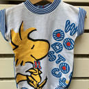 """【USED】"""" SNOOPY Woodstock"""" Blue short sleeve Rompers ( Made in U.S.A.)"""