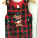 【USED】Dog motif check Rompers