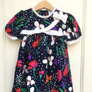 【USED】Colorful flower print Navy dress