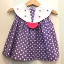 【USED】Circle Collar Dot print Purple Tops
