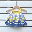 【USED】Yellow×Navy Flower design Tops