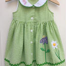 【USED】Green Gingham Flower Dress
