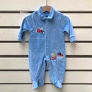 336.【USED】Blue Animal Train Rompers