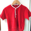 "【USED】Vintage ""Rendale"" Red henry neck Short sleeve Pile sweater"