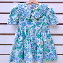 63.【USED】Blue flower print cotton Dress