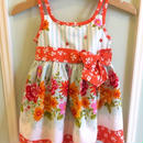 【USED】Orange ribbon Flower dress