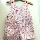 "【USED】""OSHKOSH"" OLD Design flower print pink cotton short overall (Made in U.S.A.)"