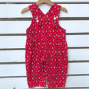 【USED】Dog motif Red design Rompers
