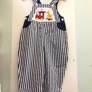 【USED】Train & Giraffe pocket Navy stripe overall