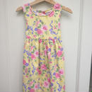 "【USED】""OSHKOSH""  Yellow Flower Print Dress ( Made in U.S.A.)"