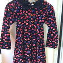 【USED】Flower print Black dress