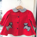 112.【USED】Houndstooth check collar Dog motif dress