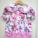 【USED】Flower Print Check Rompers