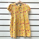 61.【USED】Flower print yellow cotton Dress