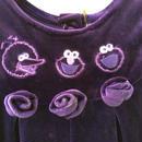 """【USED】""""Sesame Street"""" Purple velvet Rompers"""