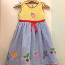 【USED】Fruit motif gingham check Dress
