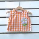 35.【USED】Orange check Flower design Tops