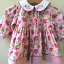 117.【USED】Gingham Flower print Pink dress