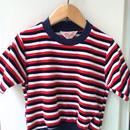 "【USED】Vintage ""Rendale"" Tricolore stripe Short sleeve pile sweater"