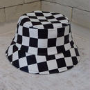 CHECKER BOARD PU BUCKET HAT