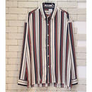 L/S  MIDDLE STRIPE SHIRTS WHT/MAROON