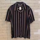 S/S OPEN COLLAR STRIPE SHIRTS NAVY -NN-