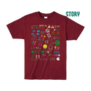 """【 ARIGATO FAKKYU 】""""STORY"""" PRINTED T-SHIRT ( #3 BURGUNDY )"""
