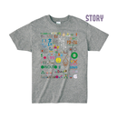 "【 ARIGATO FAKKYU 】""STORY"" PRINTED T-SHIRT ( #4 HEATHER GRAY )"