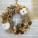 Wreath of cotton and smoke tree