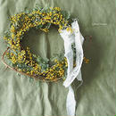 Mimosa and branch wreath C
