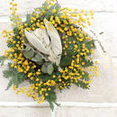 Mini wreath of mimosa and lamb's ear