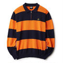 FTC【 エフティーシー】STRIPED KNIT POLO ニット ポロシャツ 長袖ポロ オレンジ