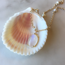 Pearl & rainbow moonstone necklace