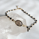 Smoky quartz choker (with a black spinel)