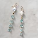 Aquamarine & pearl long pierced