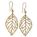 "nepal ""leaf"" brass pierced earrings (w006)"