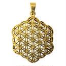 """""""flower of life"""" gold brass hexagon pendant top  (sat002)"""
