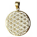 """flower of life"" gold brass pendant top  (sat001)"