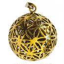 """""""flower of life"""" gold brass ball pendant top  (sat004)"""